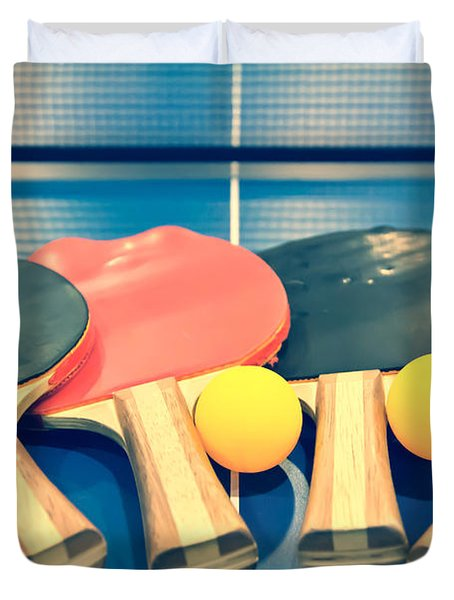 Vintage Ping-pong Bats Table Tennis Paddles Rackets Duvet Cover