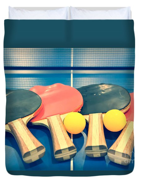 Vintage Ping-pong Bats Table Tennis Paddles Rackets Duvet Cover