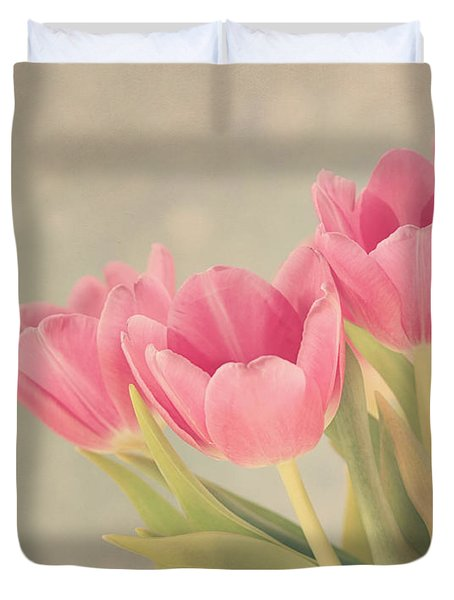 Vintage Pink Tulips Duvet Cover by Kim Hojnacki