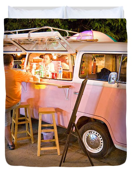 Vintage Pink Volkswagen Bus Duvet Cover by Luciano Mortula