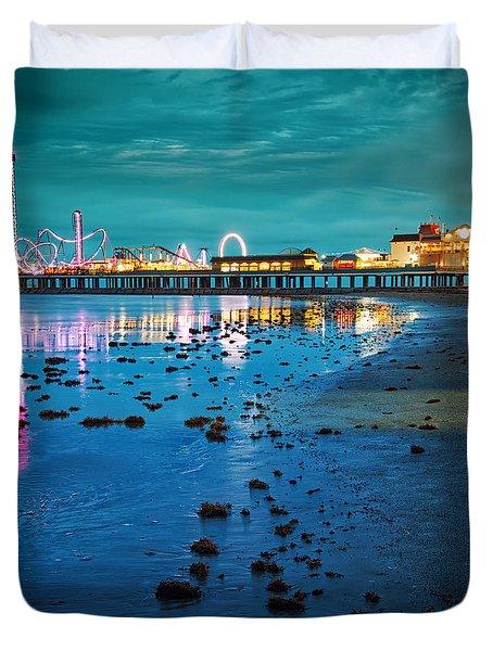 Vintage Pleasure Pier - Gulf Coast Galveston Texas Duvet Cover
