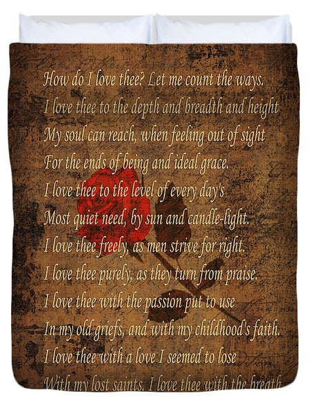 Vintage Poem 4 Duvet Cover by Andrew Fare