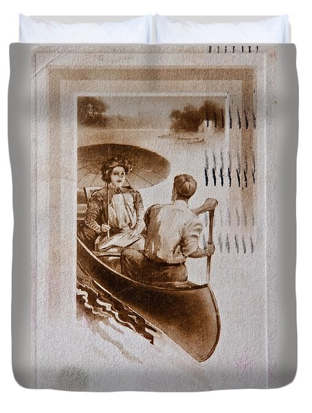 Vintage Post Card Of Couple In Boat Art Prints Duvet Cover