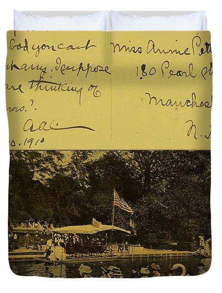 Vintage Postcard  October 10 1910 Duvet Cover