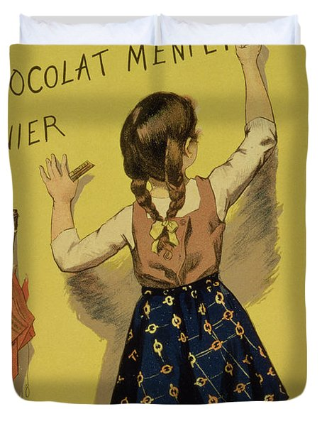 Vintage Poster Advertising Chocolate Duvet Cover