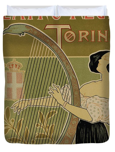 Vintage Poster Advertising The Theater Royal Turin Duvet Cover by Italian School