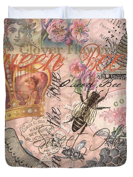Vintage Queen Bee Collage  Duvet Cover