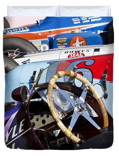 Vintage Racecars Duvet Cover
