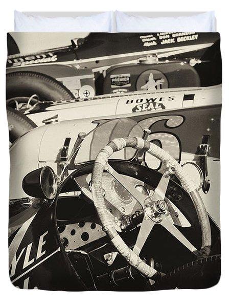 Vintage Racecars Monochrome Duvet Cover