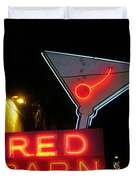 Vintage Red Barn Neon Sign Las Vegas Duvet Cover by John Malone