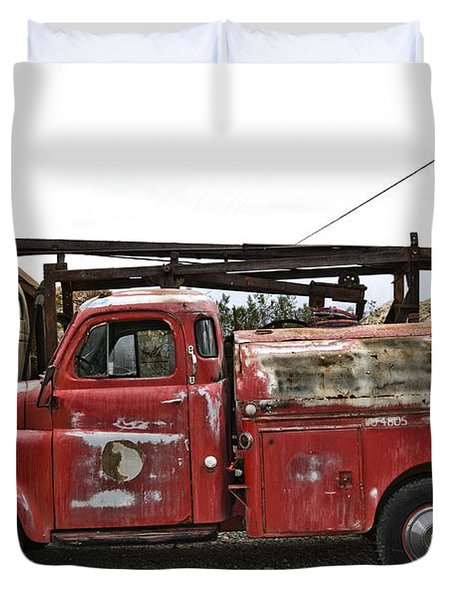 Vintage Red Chevrolet Truck Duvet Cover by Gianfranco Weiss