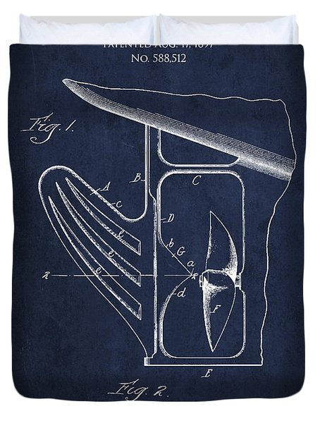Vintage Rudder Patent Drawing From 1887 Duvet Cover by Aged Pixel
