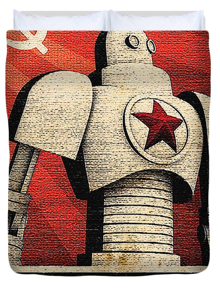Vintage Russian Robot Poster Duvet Cover by R Muirhead Art