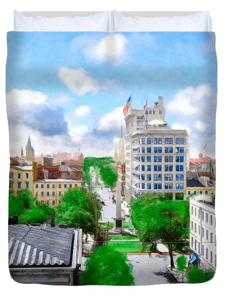 Vintage Savannah - View Over Historic Johnson Square Duvet Cover