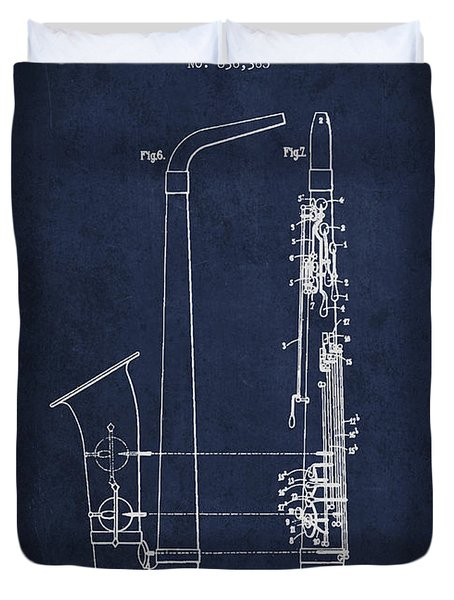 Saxophone Patent Drawing From 1899 - Blue Duvet Cover