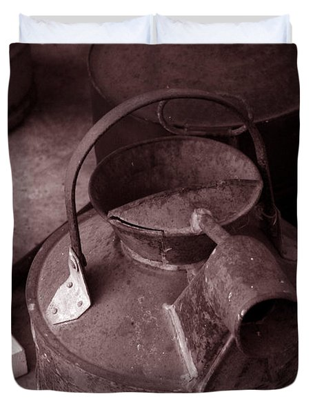 Duvet Cover featuring the photograph Vintage Sepia Galvanized Container by Lesa Fine