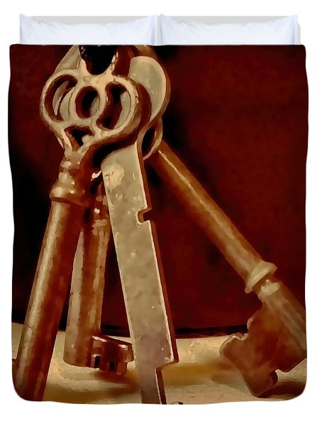Vintage Skeleton Keys I Duvet Cover by Lesa Fine