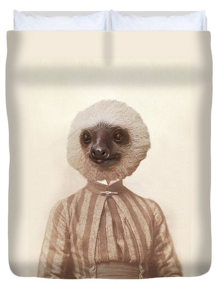 Duvet Cover featuring the photograph Vintage Sloth Girl Portrait by Brooke T Ryan