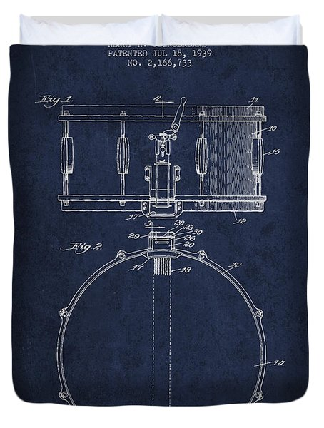 Snare Drum Patent Drawing From 1939 - Blue Duvet Cover by Aged Pixel