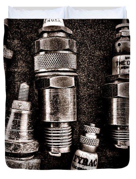 Vintage Spark Plugs Duvet Cover