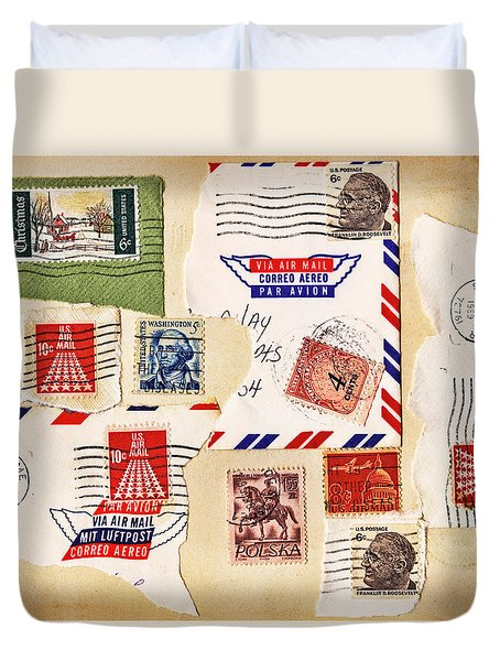 Duvet Cover featuring the photograph Vintage Stamps On Old Postcard by Vizual Studio