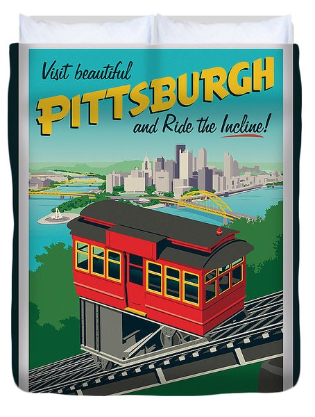 Vintage Style Pittsburgh Incline Travel Poster Duvet Cover by Jim Zahniser