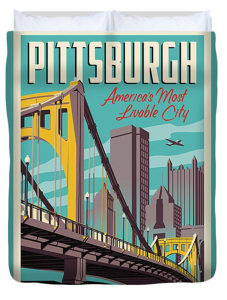 Vintage Style Pittsburgh Travel Poster Duvet Cover by Jim Zahniser