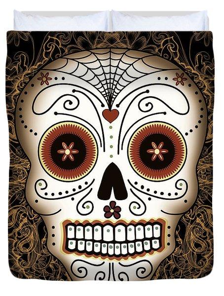 Vintage Sugar Skull Duvet Cover by Tammy Wetzel