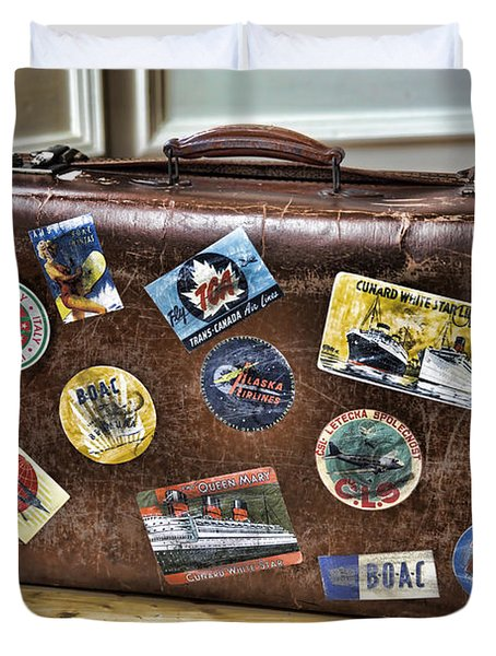 Duvet Cover featuring the photograph Vintage Suitcase With Labels by Craig B