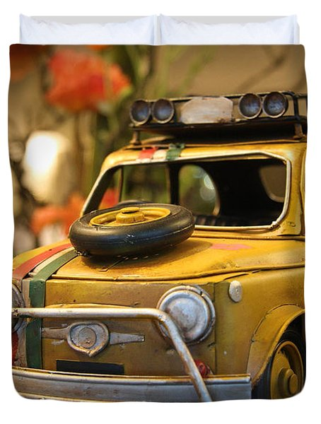 Duvet Cover featuring the digital art Vintage Toy Car 2 by Marvin Blaine