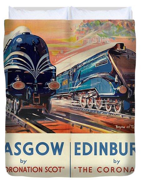 Vintage Train Travel - Glasgow And Edinburgh Duvet Cover