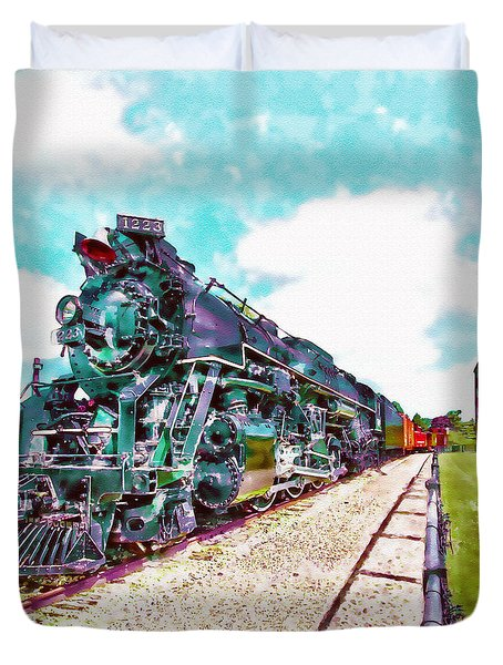Vintage Train Watercolor Duvet Cover