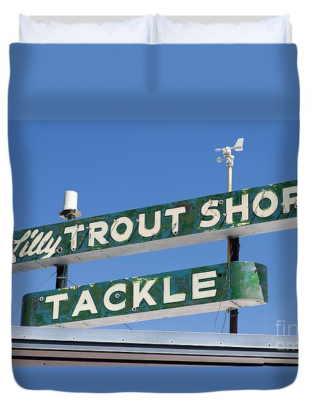 Vintage Trout Shop Sign West Yellowstone Duvet Cover