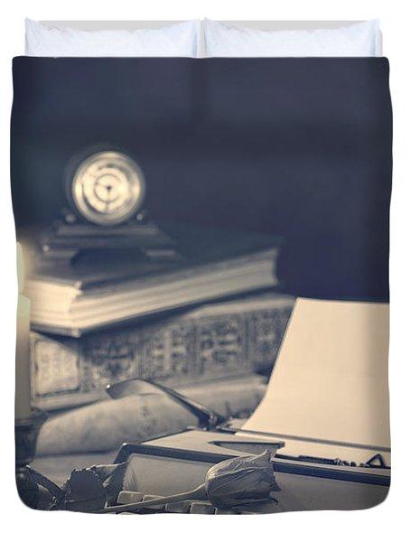 Vintage Typewriter Duvet Cover by Amanda Elwell