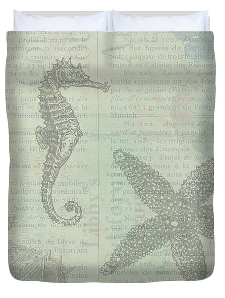 Vintage Under The Sea Duvet Cover by Peggy Collins