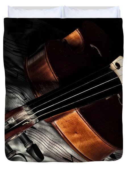 Vintage Violin Duvet Cover by Mike Santis
