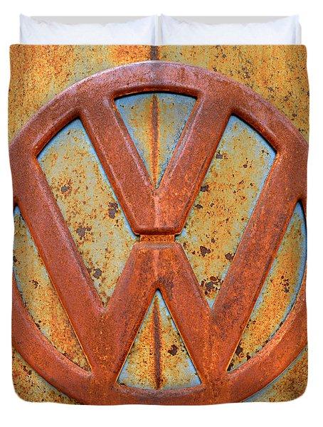 Vintage Volkswagen Bus Logo Duvet Cover by Catherine Sherman