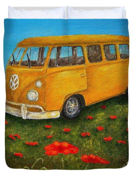 Vintage Vw Bus Duvet Cover by Pamela Allegretto