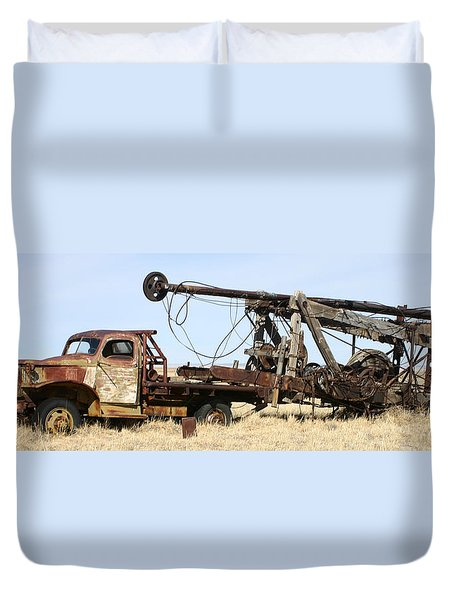 Vintage Water Well Drilling Truck Duvet Cover