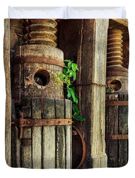 Vintage Wine Press Duvet Cover