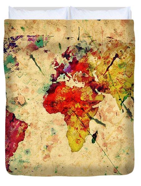 Vintage World Map Duvet Cover by Michal Bednarek