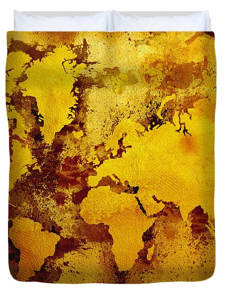 Vintage World Map Duvet Cover