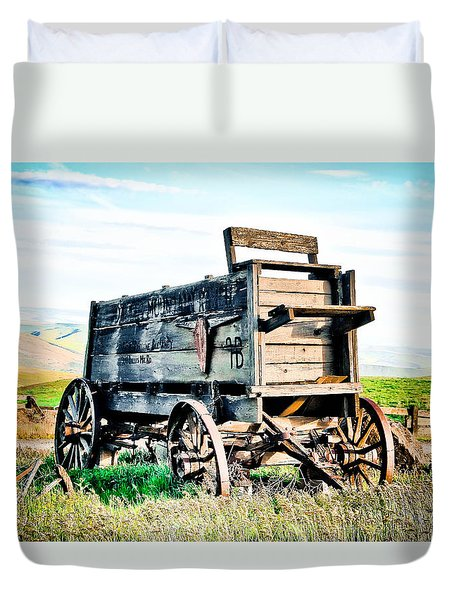 Vintaged Covered Wagon Duvet Cover by Athena Mckinzie