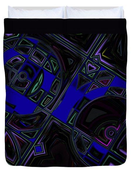 Duvet Cover featuring the digital art Vinyl Blues by Judi Suni Hall