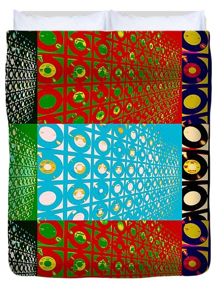 Vinyl Records Pop Art Duvet Cover