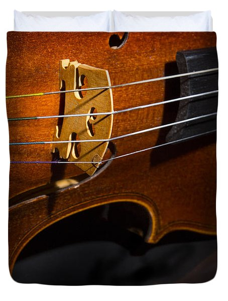 Viola Violin On Tabletop String Bridge In Color 3077.02 Duvet Cover