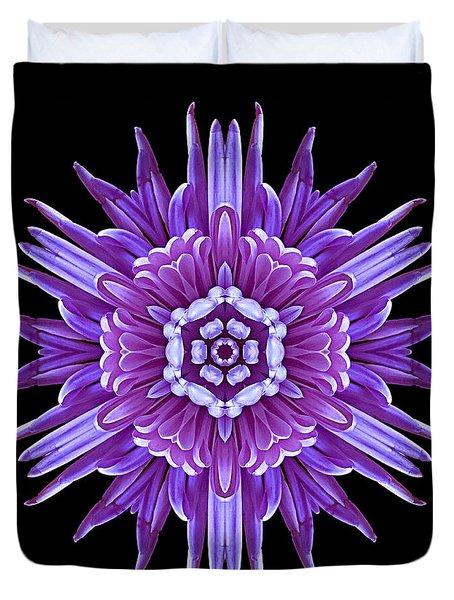 Violet Chrysanthemum Iv Flower Mandala Duvet Cover by David J Bookbinder
