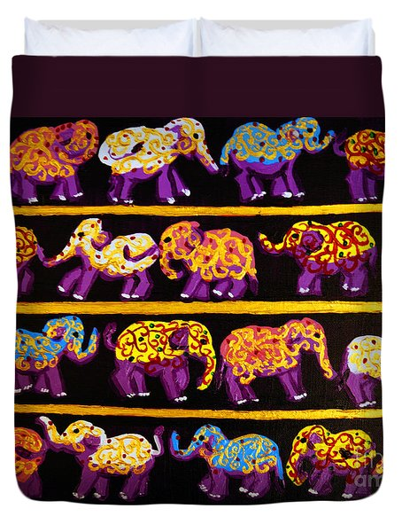 Duvet Cover featuring the painting Violet Elephants by Cassandra Buckley