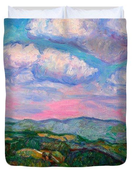 Violet Evening On Rocky Knob Duvet Cover by Kendall Kessler