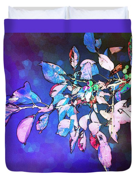 Duvet Cover featuring the photograph Violet Illumination by Shawna Rowe